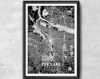 Portland Oregon Map with Coordinates, Portland Wall Art, Portland Map, Map Art, Map Print, Portland Print, Portland Art, Portland Gift, Map