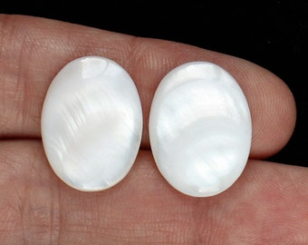 Pair of White Mother of Pearl Oval Cabochon Gemstones for earrings Craft Supplies Jewelry Making