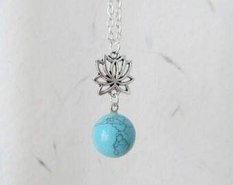 Lotus necklace, yoga necklace, gemstone necklace