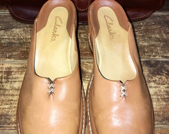 Clarks Saddle Tan Leather Women's Platform Wedge Mules Clogs Size 6M--Made in Brazil