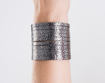 Silver Metallic Leather Cuff Bracelet, Leather Bracelets, Stacked Leather Bracelet, Stackable Bracelets, Cuff Bracelets