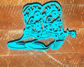Metal Cowboy Cowgirl Boots with Spurs Sign, Wall Art, Wall Hanging-CLEARANCE