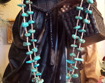 Native American turquoise and shell rwo strand necklace