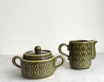 Vintage milk jug and sugar bowl, Annaburg GDR, German ceramic Colditz, 1950s tableware,.