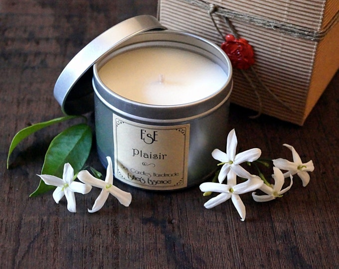 """Soy Candle 6oz, Jasmine, """"Plaisir"""" Tin candle, Wedding, Favors, Luxury candle, Home Decor, Gift idea, Floral, Gift for her, Vegan, Sensual"""