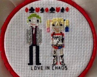 Harley Quinn and joker suicide squad parody cross stitch pattern