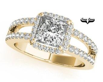 Moissanite Engagement Ring 14kt Yellow Gold, Wedding Ring, Halo Engagement, Side Diamonds, Split Shank #7307