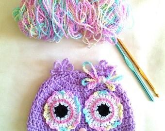 Crochet owl hat for baby