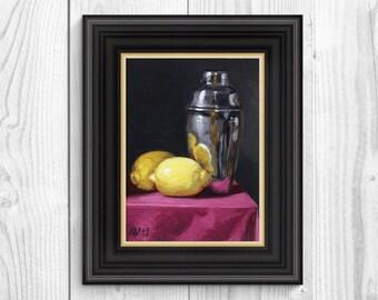 Still Life Painting, Martini Shaker and Lemons Original Kitchen Art by Aleksey Vaynshteyn