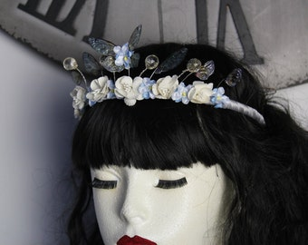 Delicate Flower Fairy Wing and Butterfly Fairy Queen/Bridal/Prom/Pagan Tiara/Crown/Headdress