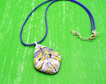 Polymer Clay marbled pendante & Cord Necklace