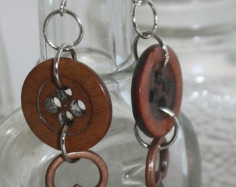 Button and copper key dangle earrings