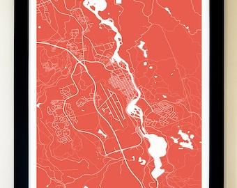 WHITEHORSE Map Art Print, Giclée Print, Whitehorse Wall Art