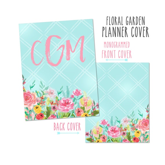 Personalized Planner Cover - Floral Garden. Choose Cover only or Cover Set - Many Planner Sizes Available!