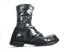 11 D - Vintage Men's Double H Combat Military Jump Boots Cap Toe Distressed Black Leather