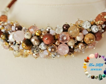 Esther's Beads short necklace (brown-beige-light pink-silver-gold)