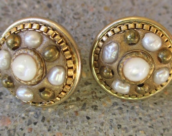 Vintage Michal Golan Earrings for Pierced Ears Cultured Pearls Round