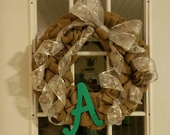 Burlap Wreath with Your Initial