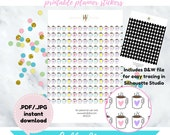 Item #0024a Printable Colorful Coffee Mugs Stickers with Heart (perfect for planners)