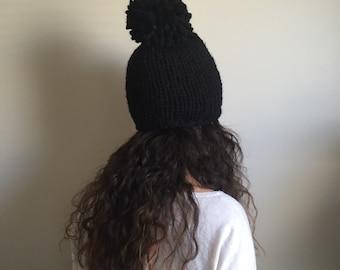 Black Chunky Knit Hat   Beanie