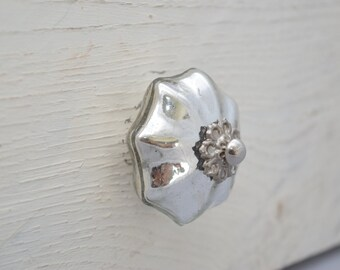 Glass Drawer Knobs with bubbles in Light Blue and Silver toned