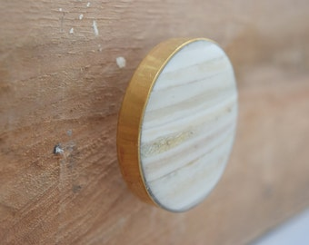 Gold Drawer Knobs with White Stone Inlay, Gold Drawer Pulls, Cabinet Knobs, White Knobs, Stone Knobs, Gold Knobs, Bone Knobs