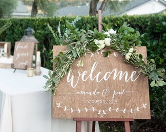 Wedding Welcome Sign - With Vines - Wooden Wedding Signs - Wood