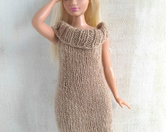 Knitted dress for Curvy Barbie doll, Barbie clothes, Barbie dress