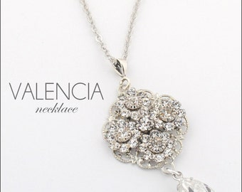 Rhinestone pendant necklace - rhinestone necklace - Swarovski crystal pendant - pendant necklace - wedding necklace -  Valencia necklace