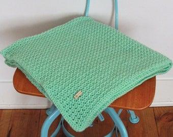 Handmade Crochet Baby Blanket Throw Mint Scandinavian Style