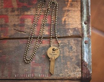 Be Brave Arrow Key Necklace | Hand Stamped Vintage