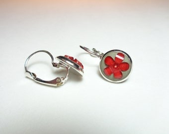 Concrete earrings - Red flower lever back earrings - Red flower dangle earrings - Concrete jewelry - Children's earrings - Mini flowers