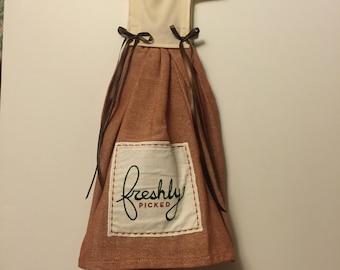 hanging kitchen dress towel /oven door towel /freshly picked