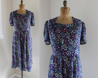 1930s Chiffon Dress / Navy Bouquet Dress / Vintage 30s 40s Floral Sheer Dress / L