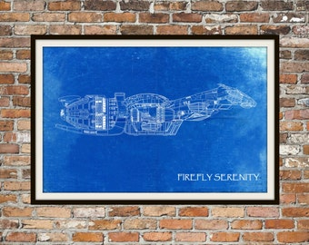 Firefly Serenity Side View Blueprint Art of Firefly Class Technical Drawings Engineering Drawings Patent Blue Print Art Item 0224