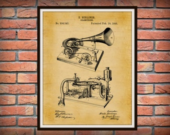 Patent 1895 Gramophone Phonograph - Art Print - Poster Print - Wall Art - Record Player - Victrola - Music Player