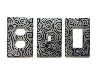 Silver Glitter Hand Painted Light Switch Plate Cover - Painted faceplate - custom size - silver glitter with black swirls