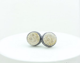 Round Cut Fossilized Bali Coral Vintage Filigree Antique 925 Fine S0LID Sterling Silver Men's / Unisex CUFFLINKS k252