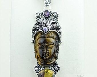 Ametrine Tiger's Eye Kwan Yin Guanyin BUDDHA Goddess Face Moon Face 925 S0LID Sterling Silver Pendant + 4MM Chain & Free Shipping p3764