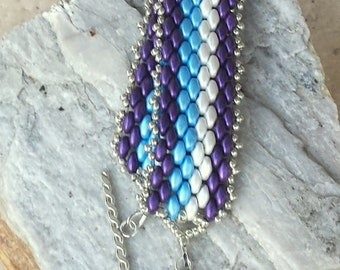 "Purple, Blue and White Peyote Stitched Seed Bead Multi-Color Bracelet - ""Happy II"""