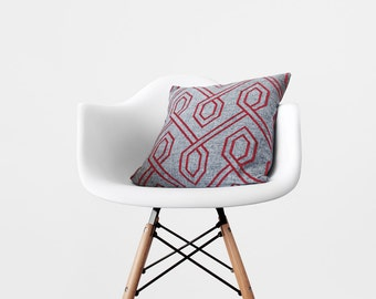 Gray Red Pillow Cover Geometric Throw Pillow Grey and Red Cushion Decorative Patterned Throw Pillow Modern Home Decor 16x16 18x18 20x20