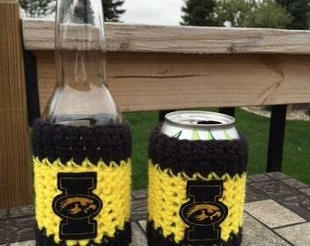 Iowa crochet can/bottle cozy