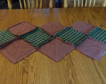 Table Runner,  Christmas Table Runner, Homespun Table Runner, Rag Quilt Table Runner, Red And Green Table Runner, Table Centerpiece