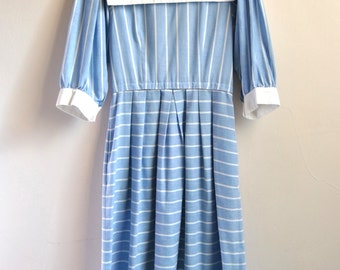 80s Lanz Bib Collar Dress With Blue And White Stripes Peasant Sleeves
