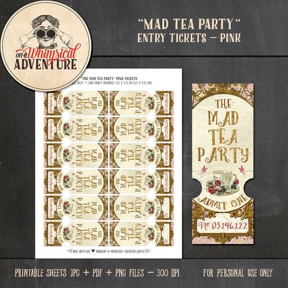 Alice In Wonderland Printable Entry Tickets