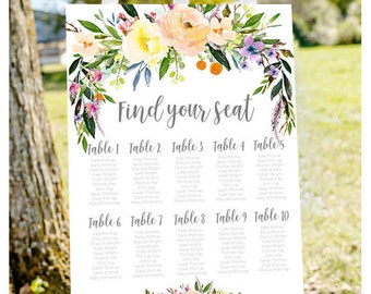 Wedding seating chart, printable seating chart, seating chart sign, find your seat sign, wedding seating charts, engagement seating chart