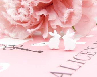 Alice in Wonderland White Rabbit earrings, Alice in Wonderland earrings, Alice in Wonderland white rabbit earrings