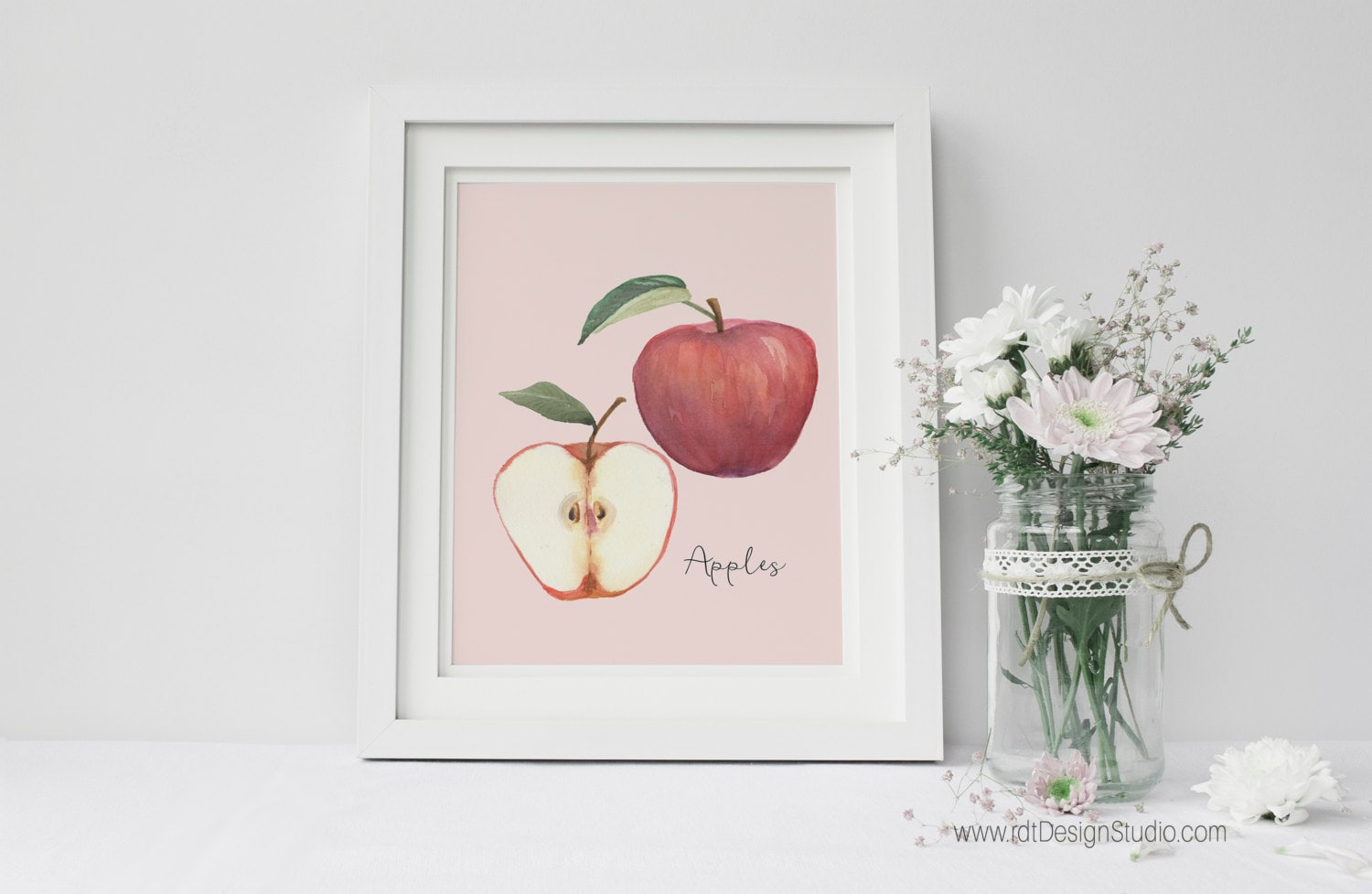 Kitchen wall art blush background red apple print home for Red kitchen wall art