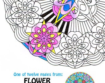 Mandala Coloring Page - Flower Glam - line art to download, print and color