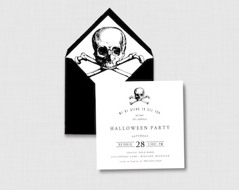 """Skull and Crossbones Black and White Halloween Party 5"""" x 5"""" Invitation - Digital or Printed"""